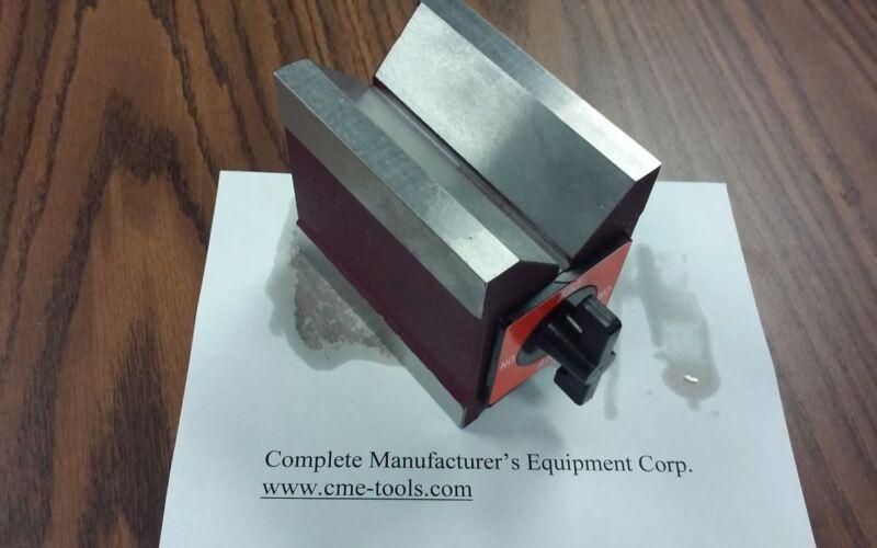 "3-11/16x2-5/8x4"" on/off magnetic Knob V-BLOCK 260 lbs mag power #706P-260"
