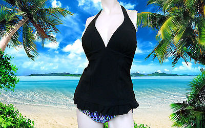 NWT GOTTEX PROFILE Aztec BLACK HALTER 2pc Tankini BIKINI Bathing SUIT sz- 12 ()