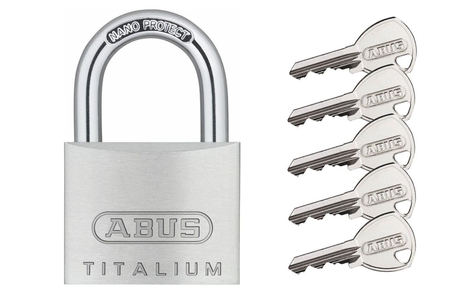 ABUS Titalium Vorhangschloss Vorhängeschloss 64TI 20 bis 60mm versch. schließend