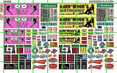NH085 DAVE'S DECALS 1/2 Set N SCALE BIZ SET HARD WOOD BOOBY TRAP STRIP CLUB AD