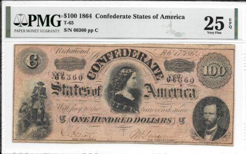 T65 PF-1 1864 $100 Confederate States of America CSA S/N 66360 PMG 25 EPQ