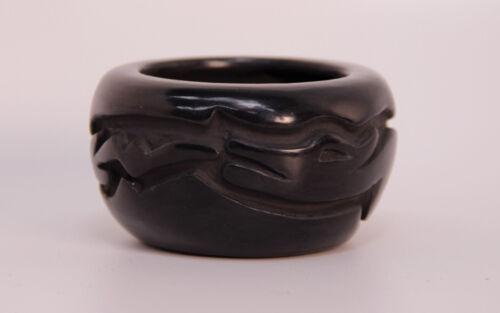 """Santa Clara Avanyu Blackware 2"""" X 3 1/4"""" By Billy Cain (1950-2006)"""