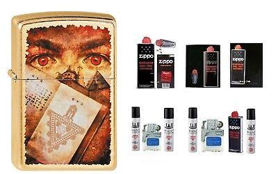 Zippo Goth Eyes Book Mystik Gold Dust Zubehör persönliche Gravur wählbar (Goth Zubehör)
