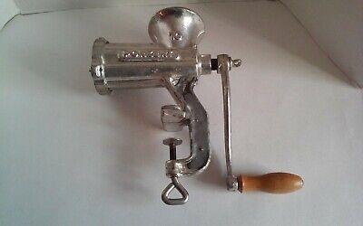 Porkert No. 10 Meat Grinder Mincer Counter Mounted Cast Iron Hand Crank Chrome