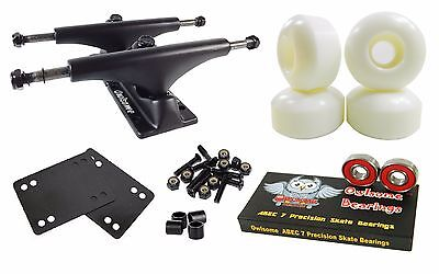Owlsome 5.0 Black Skateboard Trucks + 52mm Wheels + ABEC 7 Bearings Combo
