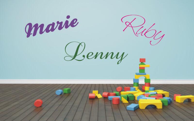 Wandtattoo Name Wunschname Herz Herzen Kind Kinder Kinderzimmer 2-farbig möglich