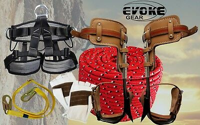 Tree Climbing Spike Set Pole Spurs Climber Adjustable Harness Glove 12rope