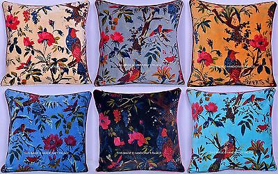 Indian Vintage Pillow Case Bird Of Paradise Velvet Cushion Cover Throw 16 by 16 Bird Of Paradise Cover