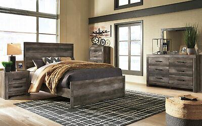 Modern Brownish Gray Bedroom Furniture - 5 piece Set w/ King Size Panel Bed IA1J