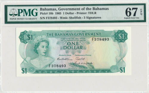 BAHAMAS 1 DOLLAR 1965 PICK# 18b - PMG 67 SUPERB GEM UNC EPQ