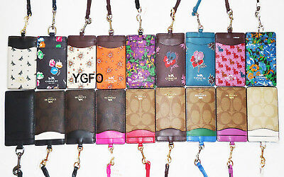 - NWT Coach Lanyard ID Holder Neck Case Card Pass 63274 Black Pink Butterfly Brown