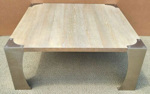 BERNHARDT MCM Modern Brushed Steel and Solid Wood Cocktail Coffee Table