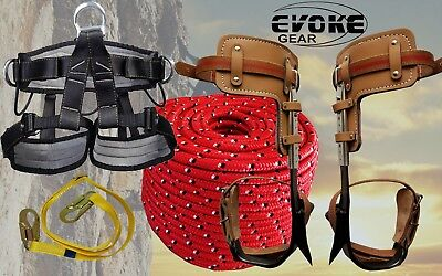 Tree Climbing Spike Set Pole Spurs Climber Adjustable Pro Harness 12 Rope