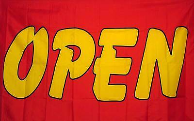 Open Red And Yellow Flag 3 X 5 Deluxe Indoor Outdoor Business Banner
