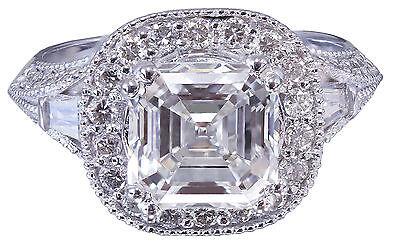 GIA I-VS2 18k White Gold Asscher Cut Diamond Engagement Ring Etoile Deco 2.85ctw 3