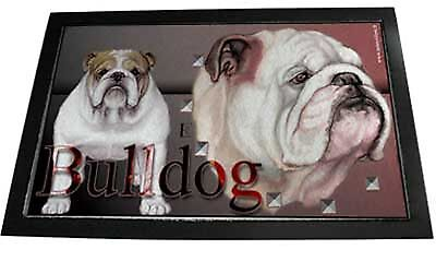 Große Designer Fussmatte English Bulldog 3 Englische Bulldogge  80x60cm