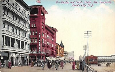 Atlantic City Nj Dunlop   Schlitz Hotels Robt E Delany Bank 1908 Postcard