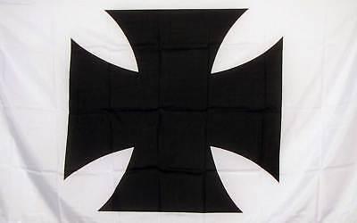 MALTESE CROSS BLK/WHT   3' X 5' Polyester Flag