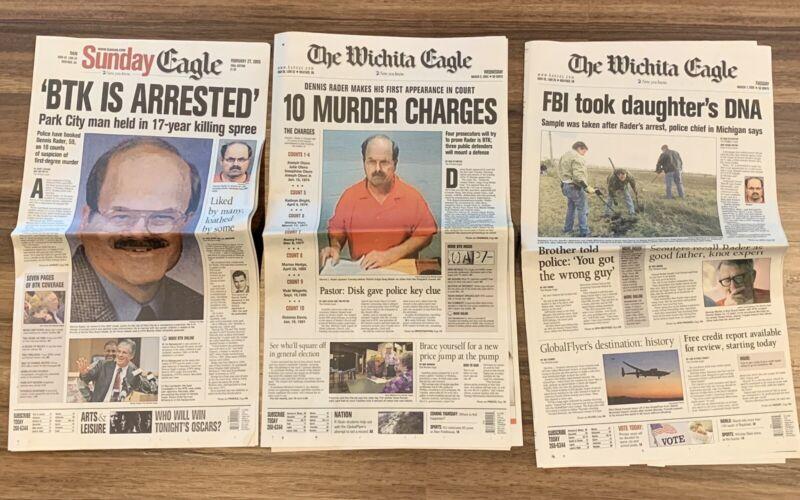 Dennis Rader Serial Killer BTK Wichita KS 2005 Newspaper Lot of 3: BTK ARRESTED!