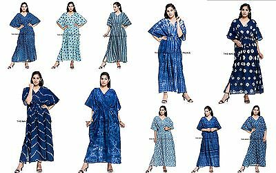Wholesale Women Dress (10 Pcs Wholesale Lot of Kaftan Women Kaftan Dress Indigo Blue Beach Long)