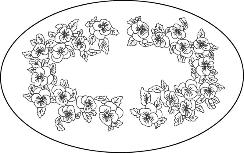 """Rug Hooking Pattern """"PANSY OVAL""""  on natural linen"""