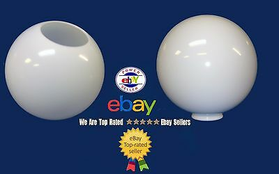 "12"" Acrylic White Round Plastic GLOBE OUTDOOR Lamp POLE FIXTURE 4"" Neck No 5.25"""