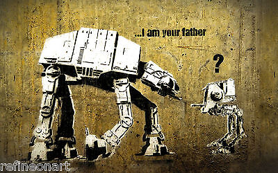 Star Wars, I am your father by Banksy Graffiti Art GICLEE CANVAS PRINT 8''x12''