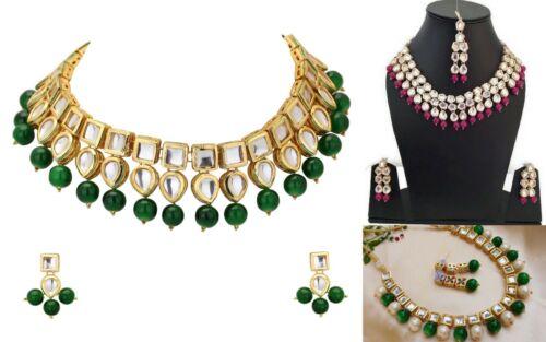 3 X Indian Bollywood Traditional Bridal Kundan Pearls Fashion Jewelry Sets Lot