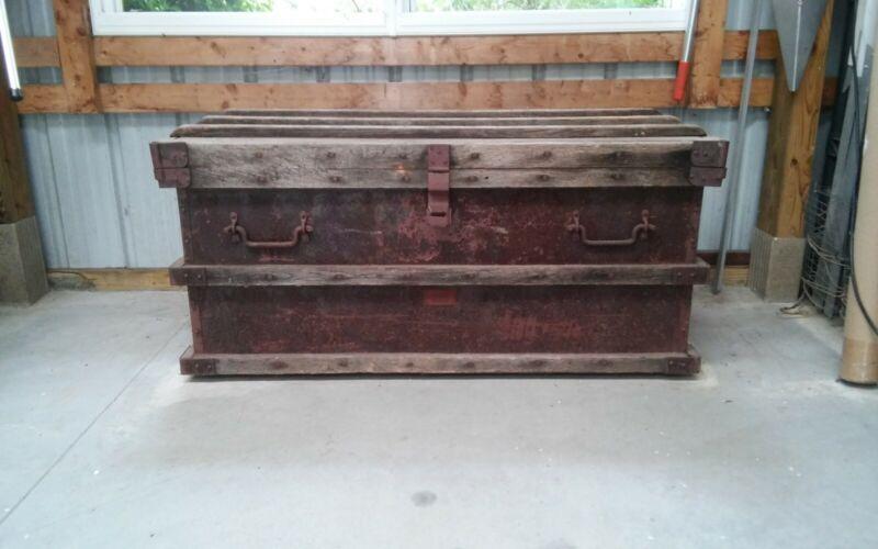 "Antique ""Vanderman"" Railroad / Shipping Gold Bullion Strong Box Circa 1897"