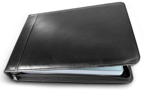 Business Check Binder PU Leather 7 Ring Checkbook Cover - 3 on a Page w/ Zipper