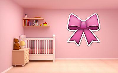 Pink Ribbon Dekoration (Emoji pink bow ribbon vinyl wall car decal sticker 5 sizes girl's bedroom)