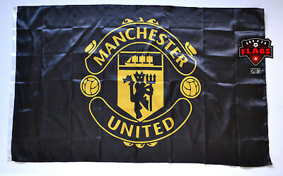 Manchester United Flag Banner 3X5 England Football Soccer Black Gold Premium