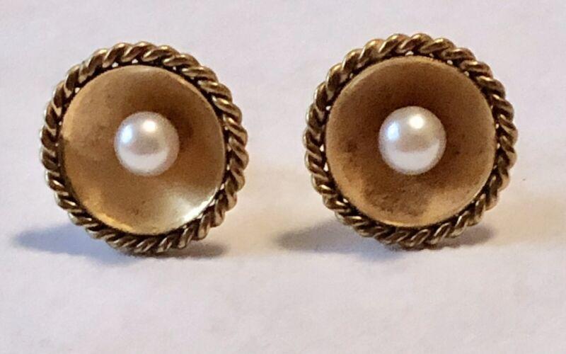 Vintage Concave Disc Real Pearl, 14 Karat Gold Earrings