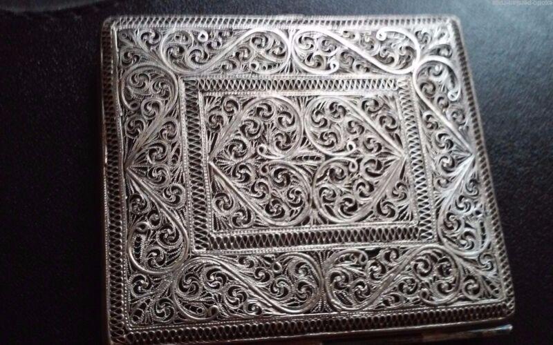ANTIQUE 1800S  MUSEUM PIECE PERSIAN QAJAR FILIGREE SOLID CIGARETTE BOX