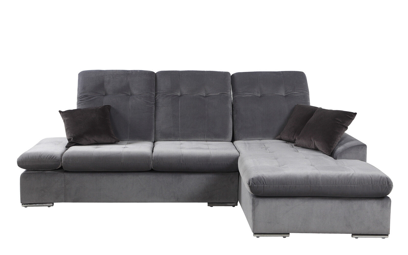 Modern Brush Microfiber L-Shape Sectional Sofa with Chaise Lounge