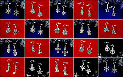 BUY 3 GET 1 FREE~CHRISTMAS DANGLE EARRINGS~925 STERLING SILVER HOOK~YOU