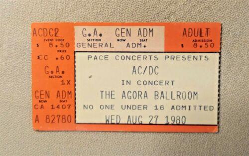 AC/DC 1980 BACK IN BLACK Tour Original Vintage Used 99% Complete Concert Ticket