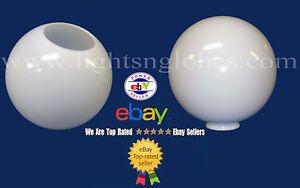 12-WHITE-ACRYLIC-PLASTIC-GLOBE-OUTDOOR-LIGHTING-POST-POLE-OPENING-5-25-NECKLESS