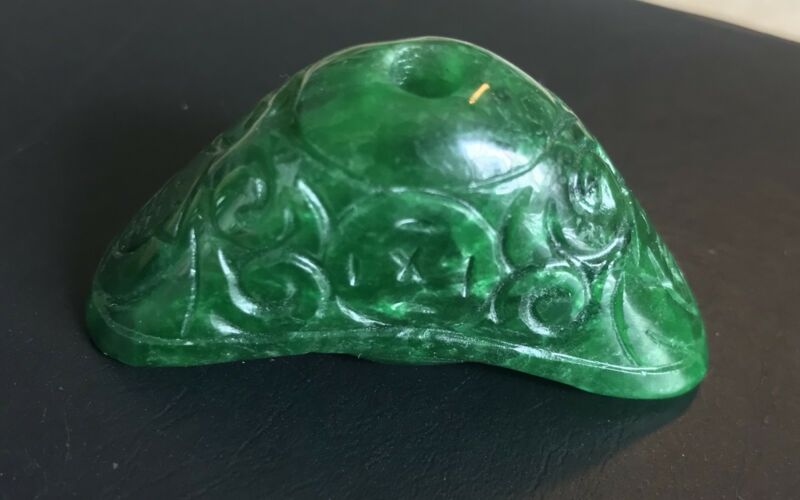 VERY RARE Old 18th-19thC Emerald Green JADE CARVED PENDANT Antique Store Find
