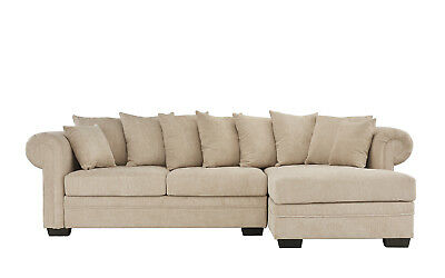 Traditional Modern Fabric Sectional Sofa L Shape Couch Wide Chaise Lounge, Beige