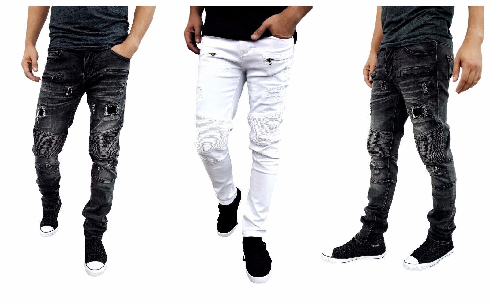 Etzo Mens biker jeans, Skinny fit premium Ripped Distressed