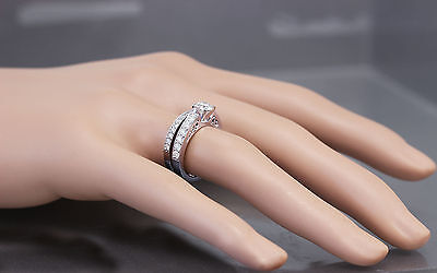 GIA H-SI1 14k White Gold Round Cut Diamond Engagement Ring And Band Deco 1.45ctw 1