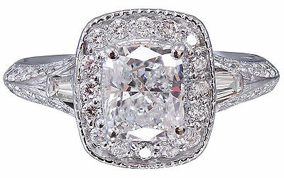 GIA G-SI1 14K WHITE GOLD CUSHION CUT DIAMOND ENGAGEMENT RING DECO 1.70CTW 10