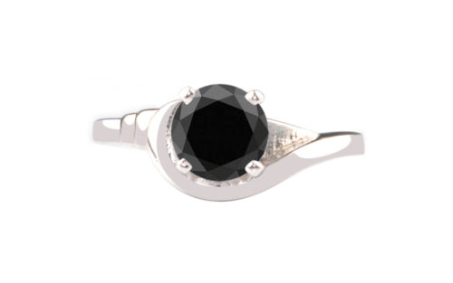2.00ct Solid 14kt Real White Gold Natural Black Diamond Solitaire Women
