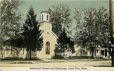 c1910 Printed Postcard; Reformed Church & Parsonage, Lone Tree IA Johnson Co