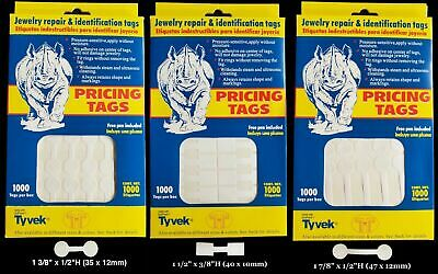 1000 Rhino Tyvek White Adhesive Dumbbell Jewelry Labeling Price Tags - 3 Styles