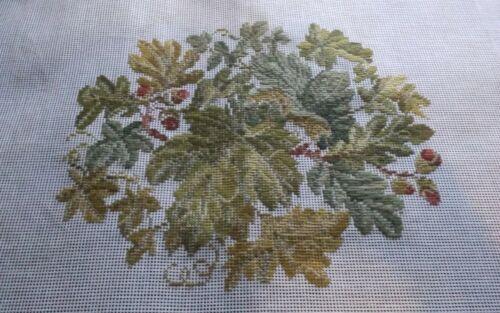 "Vtg preworked needlepoint tapestry tramme work oak leaves acorns 19x23"""