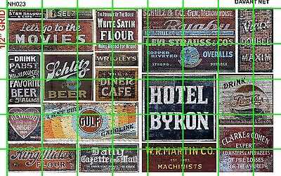 NH023 DAVE'S DECALS 1/2 Set N SCALE GHOST SIGNS DRY GOODS BEER CAFE SODAS & MORE
