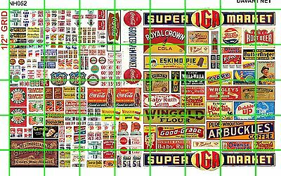 NH052 DAVE'S DECALS 1/2 Set N SCALE MIXED ASST'D SODA GROCERY HEADER PRICE SIGNS