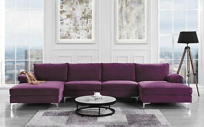 Modern Large Velvet U Shape Sectional Sofa Wide Double Chaise Lounge, Purple Modern Wide Sofa